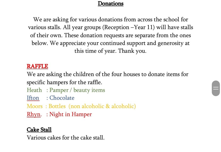 Donations for Christmas Fyare